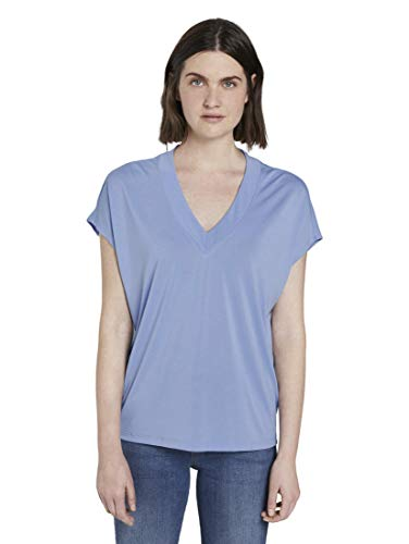 TOM TAILOR Damen Basic T-Shirt,Blau ( 12819 - Parisienne Blue ) , M