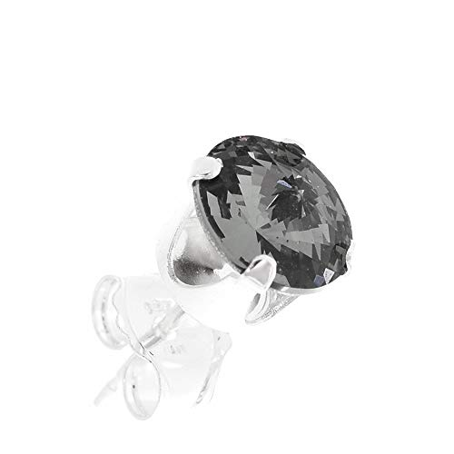 pewterhooter Men's single 925 Sterling Silver stud earring. Brilliant Black Diamond crystal from Swarovski. Gift box. Made in the UK. Hypoallergenic & Nickle Free for Sensitive Ears.