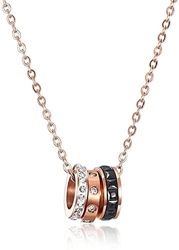 banbeitaotao Collar Diseño Clásico Titanio Acero Chapado En Oro Rosa Collar De Combinación De Tres Anillos Diamante Chapado En Oro Rosa Collar De Mujer Accesorios De Cóctel De Fiesta