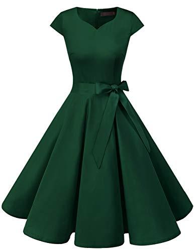 DRESSTELLS Damen Abendkleid Vintage Retro Cap Sleeves Rockabilly Kleider Hepburn Stil Cocktailkleider DarkGreen S