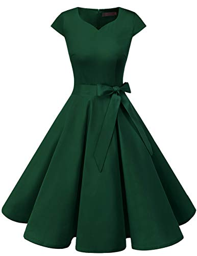 DRESSTELLS Damen 50er Vintage Retro Cap Sleeves Rockabilly Kleider Hepburn Stil Cocktailkleider DarkGreen M