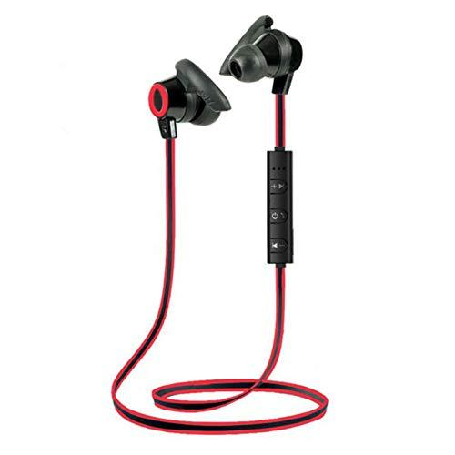 Wsaman En la Oreja Auricular Estéreo Cancelación de Ruido, Bluetooth Negocio Auriculares Impermeable para Deportes Casa Trabajo iOS Android Earbuds,Rojo
