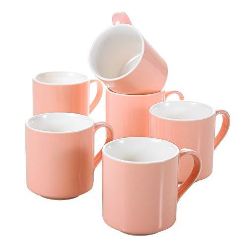 Panbado, Porzellan Kaffeetasse, 6 teilig Porzellan Kaffeetassen Set, Kaffeeservice, Rosa Tassen, Füllmenge 370 ml, Porzellan Tasse, Kaffeebecher - Geschenk für Freundin, Familie & Kollegin