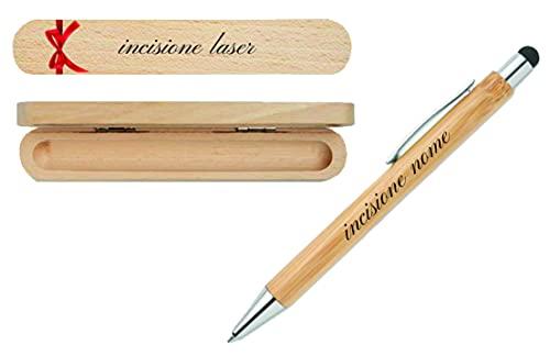 Penna a scatto in alluminio con fusto in bamboo refill blu PERSONALIZZATA CON INCISIONE (PN4)