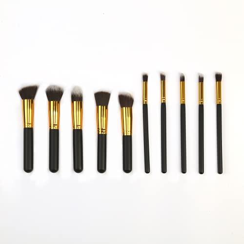 KFGF Kfgf - Juego de 10 brochas de maquillaje para base sintética de alta calidad para colorete y corrector, color negro y dorado