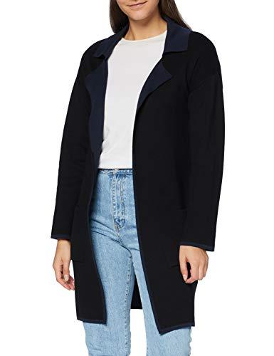 Mavi Damen Long Cardigan Strickjacke, Black-Navy, XL