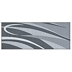 commercial Mings Mark GC1 Stylish Camping Reversible Graphic Patio Mat – 8'x20′ Black / Silver rv patio mat