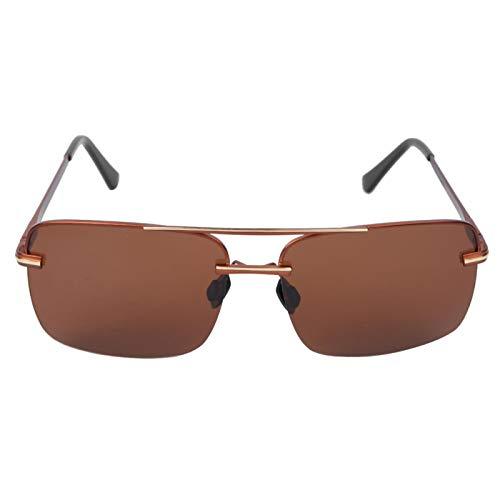 Frameloze heren zonnebril, ter bescherming van de huid van het menselijk lichaam(Tea golden frame tea slices)