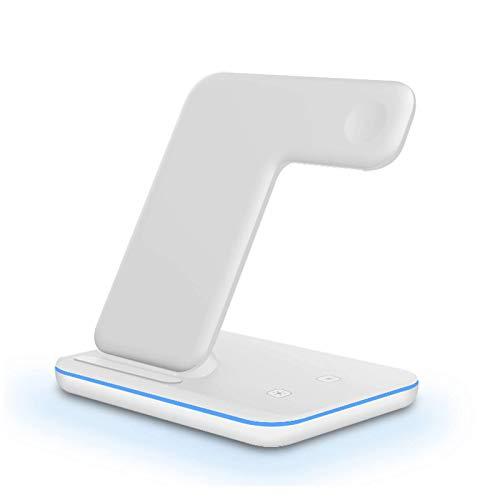 Cargador inalámbrico Qi de inducción tres en uno, base de carga de 15W compatible con iPhone 11 XS XR X 8 AirPods Pro, etc, adecuado para la serie Apple Watch iWatch 5 4 3 2