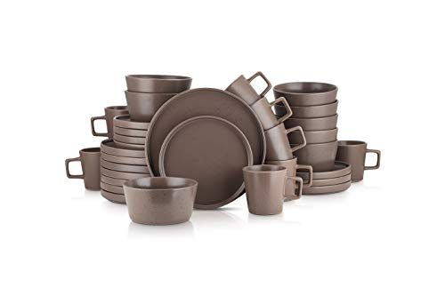 Stone Lain Coupe Dinnerware Set, Service For 8, Matte Brown Speckled