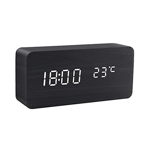 KLHDGFD Reloj despertador de madera, control de voz, digital, funciona con madera, electrónico, color B, tamaño: talla única