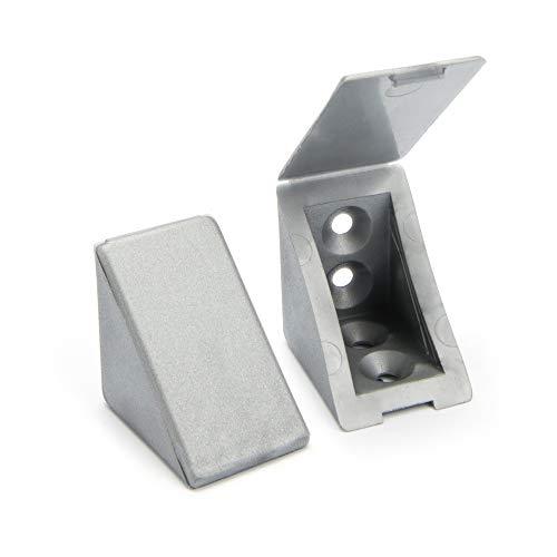 40 x Korpusverbinder/Möbelverbinder/Eckverbinder mit Abdeckklappe | Sossai® BT1, 4-Loch | Farbe : Silber | Material : Kunststoff
