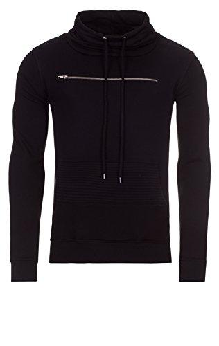 Yazubi Herren Sweatshirt Hoodie Kallari Zipped Chest Pocket, Black (10001), XL
