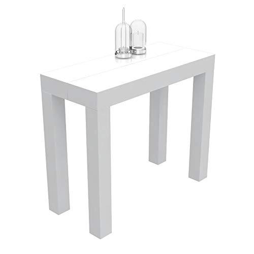 VE.CA.s.r.l. Mesa consola extensible Nettuno en laminado – extensible de 40 cm y 300 cm, en 10 colores de madera – Decoración de cocina – Diseño (blanco brillante)