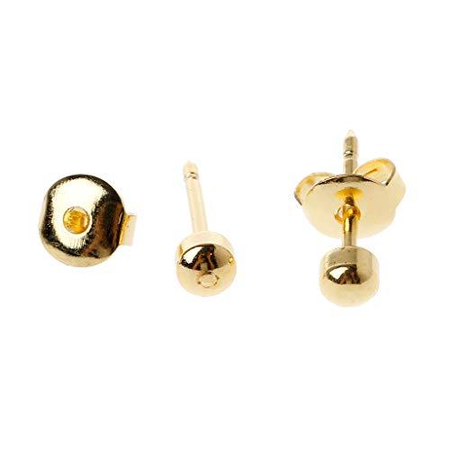 LessLIFE Piercing de la oreja acupuntura, 12 pares de pendientes de la pistola de perforación de la oreja Desechable Set hipoalergénico Ear Stud Jewelry-Golden