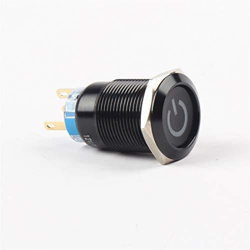 Botón pulsador para Impermeable Interruptor, 1 UNIDS 19MM Metal Alúmina Botón Negro Presione Botón LED MARCA DE POTENCIA Botón, interruptor de control de control momentáneo Interruptor de botón interr