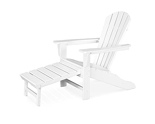 Polywood CASA BRUNO South Beach Ultimate Adirondack Chair with unique hideaway ottoman, made of recycled HDPE plastic lumber, white - unconditionally weather-resistant