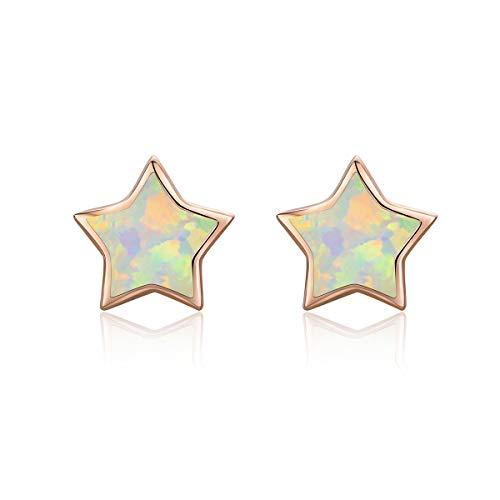 Pendientes de estrella de ópalo, plata de ley, cartílago hipoalergénico, chapados en oro rosa para mujeres y niñas