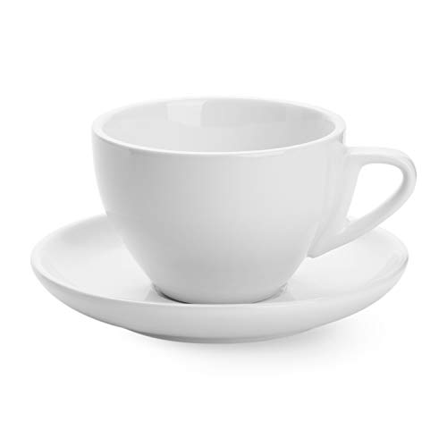 Sweese 403.000 Porcelain Cappuccino Cup with Saucer - 6 Ounce for Specialty Coffee Drinks, Latte, Cafe Mocha and Tea - White