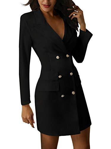 Minetom Damen Blazer Kleid Frauen Elegant Langarm V-Ausschnitt Zweireihig Solide Hemdkleid Business Lange Hülse Büro Jacken Knopf Anzug Schwarz DE 34