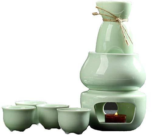 ZXL Japanse Sake Set 7 stuks, Celadon wijnglazen met meer traditionele Hot pot en kachel kaars voor Hot Sake Service