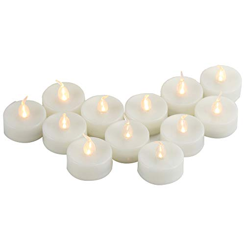 12 PCS LED Battery Operated Tea Lights Pumpkin Lights Flameless Candles Flickering Electric Fake Tealight Candle Set Bulk for Halloween Christmas Wedding Party Decorations Home Décor Batteries Incl.