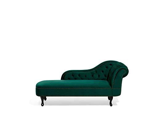Beliani Retro Chaiselongue Samtstoff rechtsseitig grün Nimes