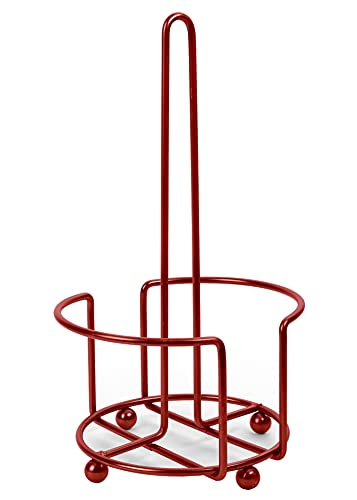Totally Kitchen Paper Towel Holder | Simple Tear Standing Paper Towel Dispenser | Heavy Duty Metal Construction | Fits Rolls | Red