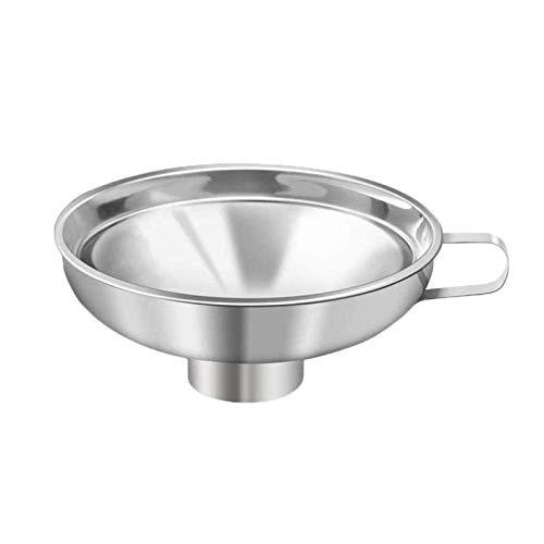 Embudo de enlatado de acero inoxidable con boca ancha para transferir fluido aceite en polvo frijoles y mermelada, plata grande