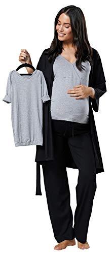 HAPPY MAMA Damen Mutterschaft Pyjama-Set Baby Mutter Passendes Set 181p (Schwarz & Licht Grau Melange, 38, M)