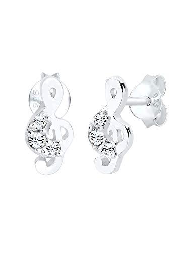 Elli Ohrringe Notenschlüssel Swarovski® Kristalle 925 Silber