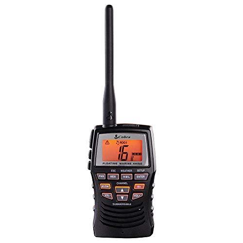 Cobra Marine Radio - MR HH150 FLT - 3 Watt, Floating, Long Range, Handheld, VHF Radio, NOAA, International, Waterproof, Submersible, Weather Alerts, LCD Screen, Belt Clip