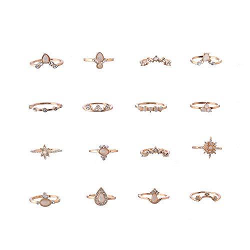 Goddesslili 12 Pcs Set Retro Bohemian Rings for Women Ladies Girlfriend Crown Knuckle Wedding Engagement Anniversary Simple Jewelry Gift 2019 New Design Muti Styles