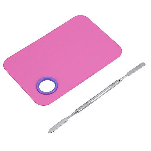 4 types de planche de maquillage en acier inoxydable avec ensemble d'outils de barre de mélange pour le maquillage des cils ombre à paupières, outil de mélange de maquillage pour les ongles(3#)