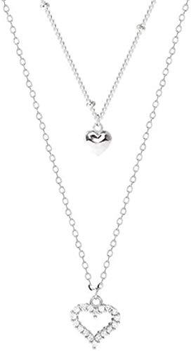 huangxuanchen co.,ltd Collar Collar con microconjunto de Doble corazón Collar Simple Dulce Temperamento