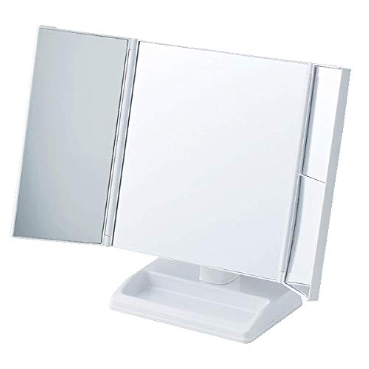 テーブルで使う拡大鏡付三面ミラー