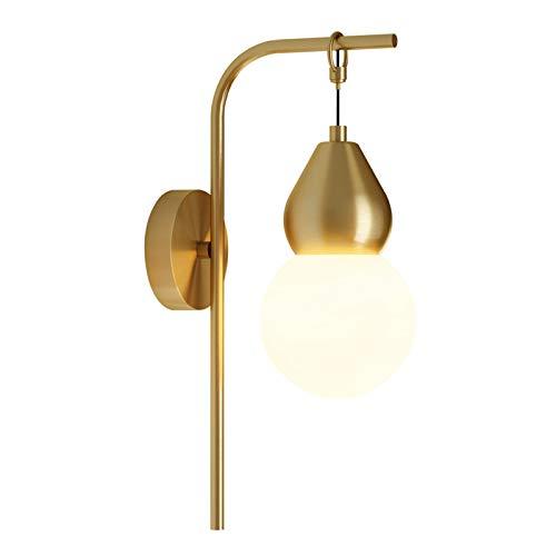 DESLP Lámpara de Pared Interior LED, Apliques de Pared Diseño Decorativa Moderna con Pantalla de PC, 3 Temperaturas de Color, Luz de Pared Dorada Metal para dormitorio, Pasillo, Estudio