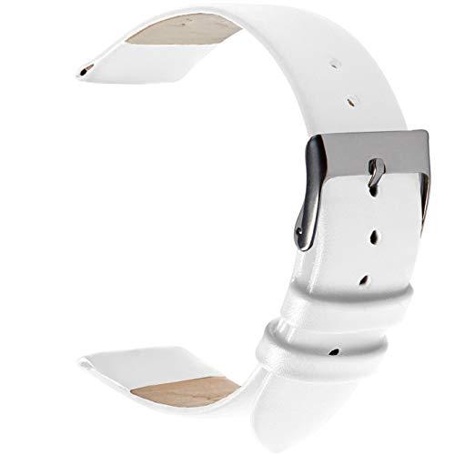 Wildery Echt Leder Uhren und Smartwatch Armband für 20mm Stegbreite mit Federstegen und Edelstahl Dornschließe für Herren und Damen in 10 Farben (20mm, weiß)