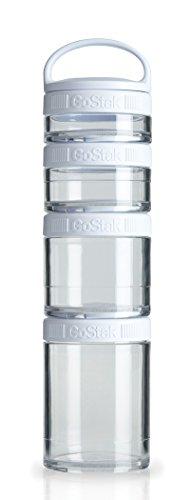 BlenderBottle GoStak Starter 4Pak, Contenedor de suplementos alimenticios con asa, blanco, Pak de 4 (150ml,100ml,60ml y 40ml)