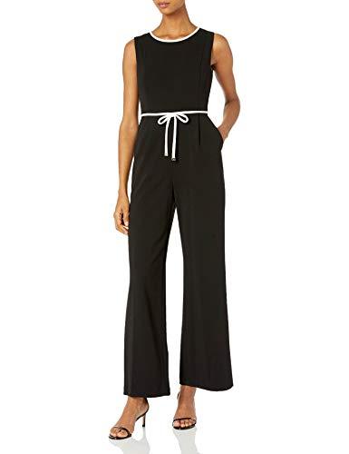 Tommy Hilfiger Damen Scuba Crepe Jumpsuit Kleid, schwarz/elfenbeinfarben, 34