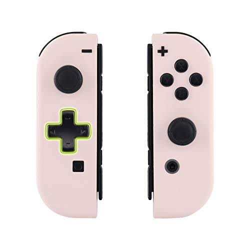 eXtremeRate Hülle für Nintendo Switch Joycon,Case Gehäuse Hülle Schale Soft-Touch Ersatzteile für Nintendo Switch Joycon Controller&kompletter satz Taste(D-Pad-Version)-Sakura Rosa-Keine Console Hülle