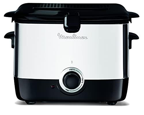 Moulinex AF220010 - Freidora, Capacidad de 1 litro de Aceite, para Unos 600 gr de Comida, Acero Inoxidable, Bol Antiadherente, Filtro Metálico Incluido, Termostato Ajustable, 1000 W, Plástico, Negro