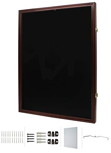 Jersey Display Frame Case Large Frames Shadow Box Lockable with UV Protection for Baseball Basketball Football Soccer Hockey Sport Shirt, Mahogany (JC04-MA)