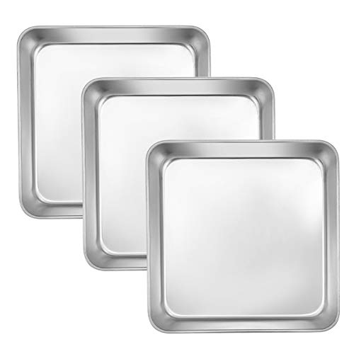 8 Inch Square Cake and Brownie Pan Efar Square Baking Pans Stainless Steel Bakeware Set of 3 Nontoxic amp Healthy Easy Clean amp Dishwasher Safe