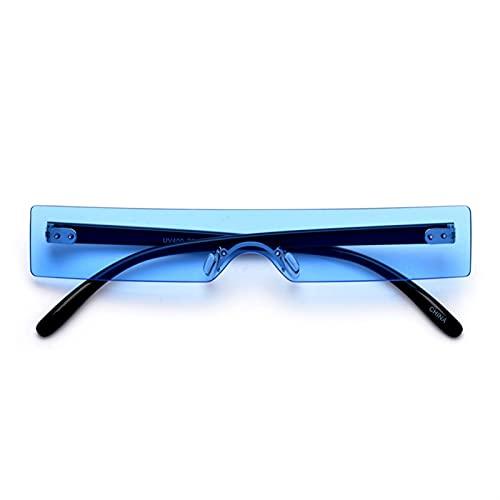 SLAKF Gafas duraderas Rectángulo Gafas de Sol Mujer Red Rosa Claro Claro Pequeño Lente Personalidad Gafas de Sol Trasas UV400 (Lenses Color : Blue)