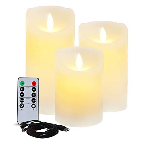 """Lezonic Rechargeable LED Flameless Pillar Candles Battery Operated with Flickering Moving Wicks, Pack of 3(D 3""""×H 4""""5""""6"""") White Real Wax Candles with Remote and Timer for Home Decor Holiday"""