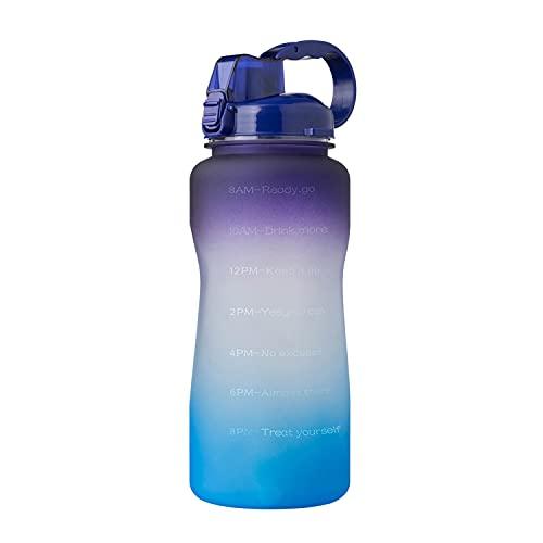 Botella de Agua Deportiva, 2.2 litros Botella de Agua Motivacional con Marcas de Tiempo Botellas de Bebida sin BPA Abiertas para Gimnasio, Senderismo, Ciclismo (Azul Morado)