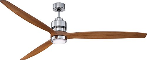 Craftmade SON52CH-70LOK Sonnet Chrome 70' Ceiling Fan with BSON-70LOK Light Oak Blades, Dimmable LED Light and Remote