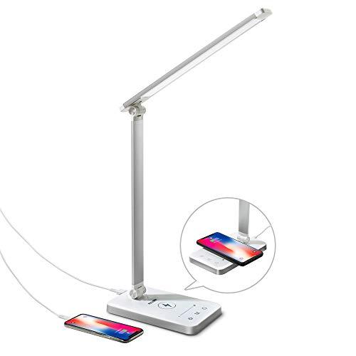 Lampe de Bureau LED avec Chargeur sans Fil Pliable 5 Modes Luminosité illimitée Lampe de Table Contrôle Tactile Lampe de Chevet Protection des Yeux Minuterie avec Câble USB et Adapteur