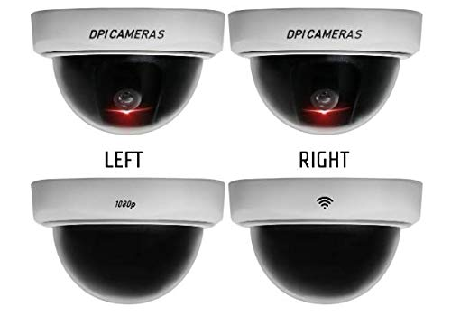 DPI Fake Security Camera 4 Pack with Authentic Look Fake Cameras for Security Fake Security Cameras Fake Surveillance Dummy Cameras for Security Fake Video Recording Red LED Light Dome Camera